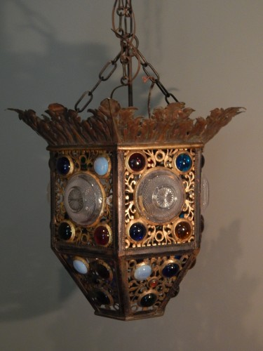 C.1890 Two toned brass hanging fixture set with colored jewels and patterned glass